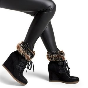 NWOB Merona Faux Fur Wedge Booties